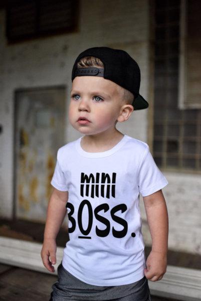 """Унисекс детска бяла тениска с щампа """"Mini BOSS"""""""