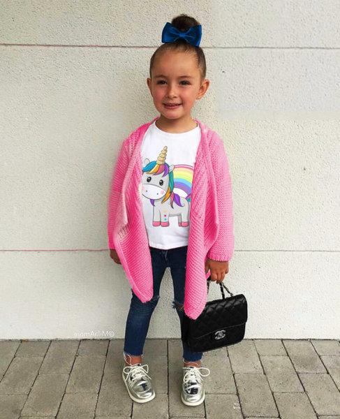 """Детска бяла тениска за момиче с щампа """"Unicorn"""""""