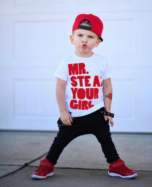 """Унисекс детска бяла тениска с щампа """"Mr. Steal"""""""