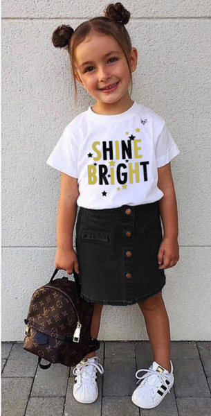 """Детска бяла тениска за момиче с щампа """"Shine Bright"""""""