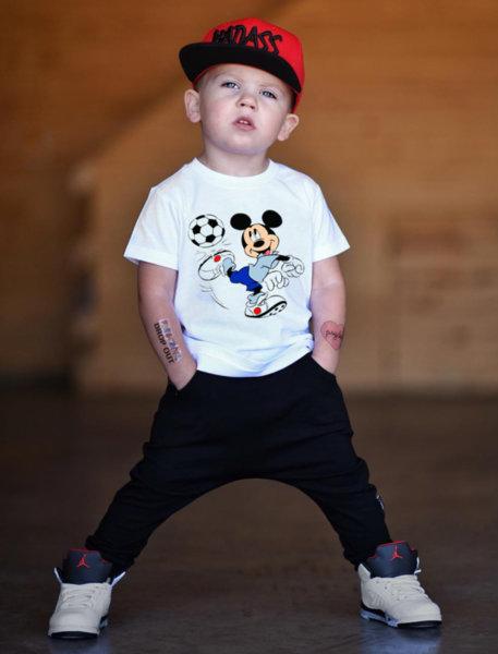 """Унисекс детска бяла тениска с щампа """"Mickey Mouse-Football"""""""