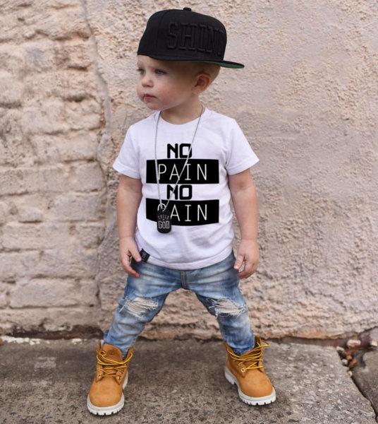 """Унисекс детска бяла тениска с щампа """"No Pain No Gain"""""""