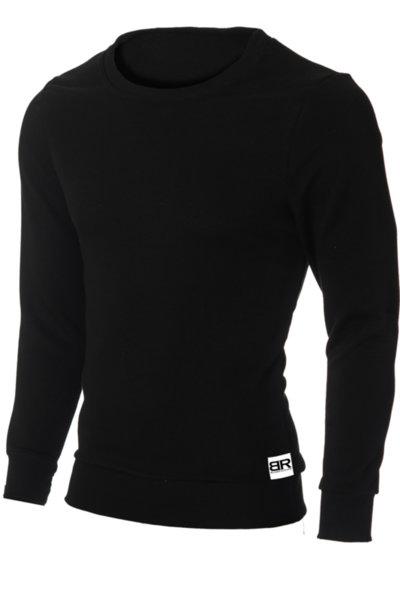 """Мъжка вталена черна блуза """"Ryan"""" с обло деколте от Blazer Clothes"""