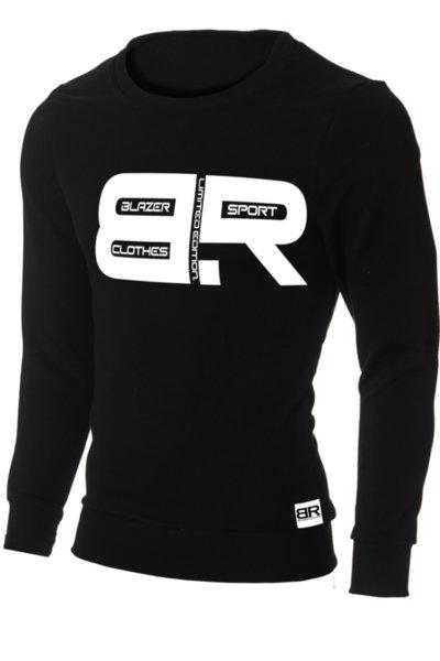 """Мъжка вталена черна блуза """"Ryan"""" с обло деколте и щампа """"BR"""""""