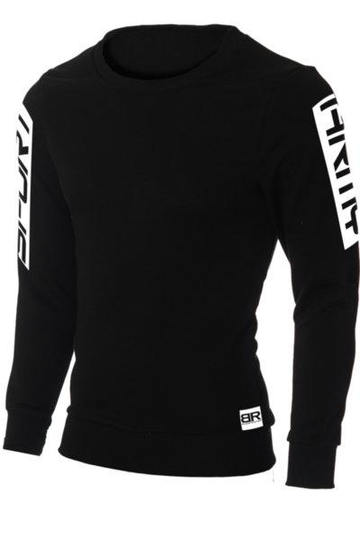 """Мъжка вталена черна блуза """"Ryan"""" с обло деколте и щампа """"Sport Army"""""""
