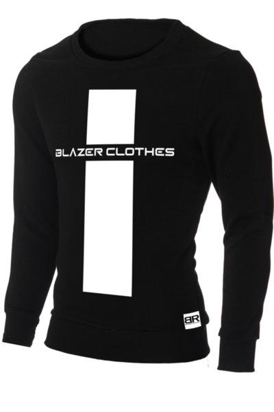 """Мъжка вталена черна блуза """"Ryan"""" с обло деколте и щампа """"Cross-BR"""""""