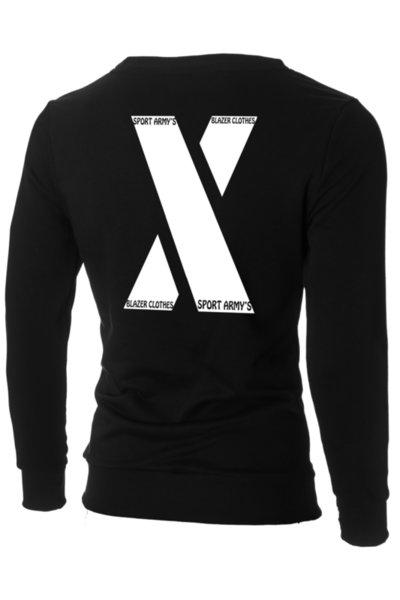 "Мъжка вталена черна блуза ""Ryan"" с обло деколте и щампа ""X-Blazer Army's"""