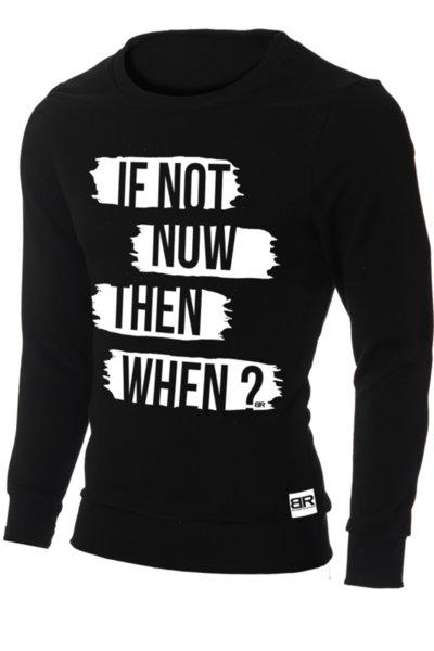 """Мъжка вталена черна блуза """"Ryan"""" с обло деколте и щампа """"If not now"""""""