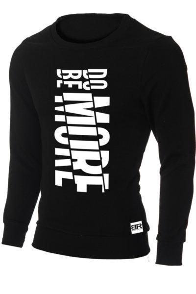 """Мъжка вталена черна блуза """"Ryan"""" с обло деколте и щампа """"Do More, Be More"""""""