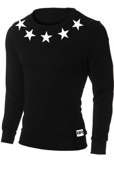 """Мъжка вталена черна блуза """"Ryan"""" с обло деколте и щампа """"Stars"""""""