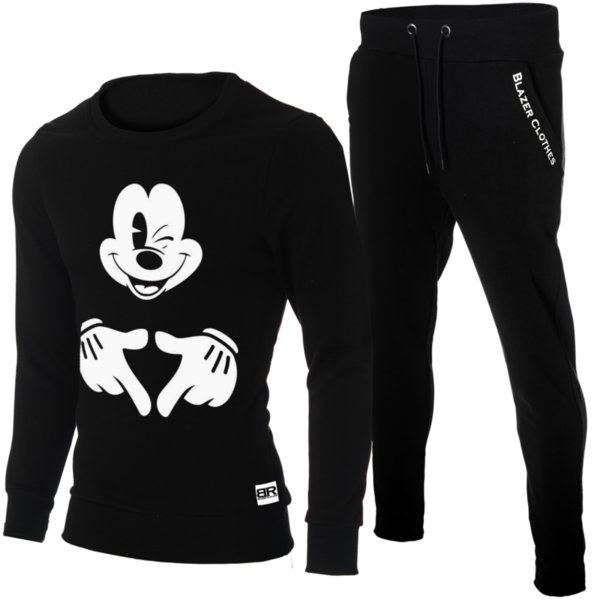 "Мъжки черен екип ""Ryan"" с обло деколте и щампа ""Mickey Mouse-2"""