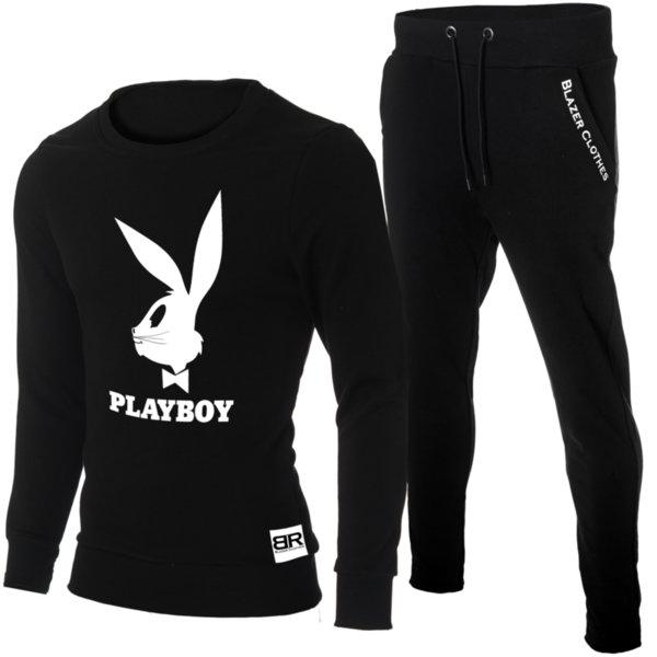 """Мъжки черен екип """"Ryan"""" с обло деколте и щампа """"Playboy Bugs Bunny"""""""