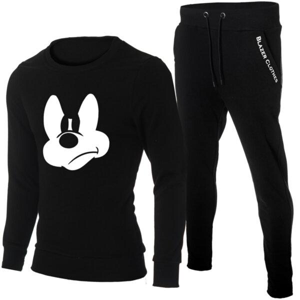 "Мъжки черен екип ""Ryan"" с обло деколте и щампа ""Mickey Mouse"""