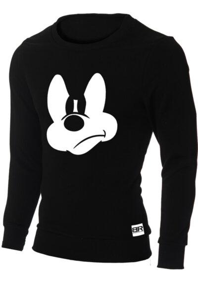 """Мъжка вталена черна блуза """"Ryan"""" с обло деколте и щампа """"Mickey Mouse -3"""""""