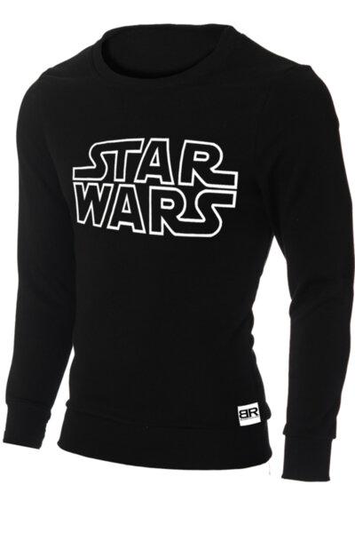 """Мъжка лимитирана вталена черна блуза с щампа """"Star Wars"""""""