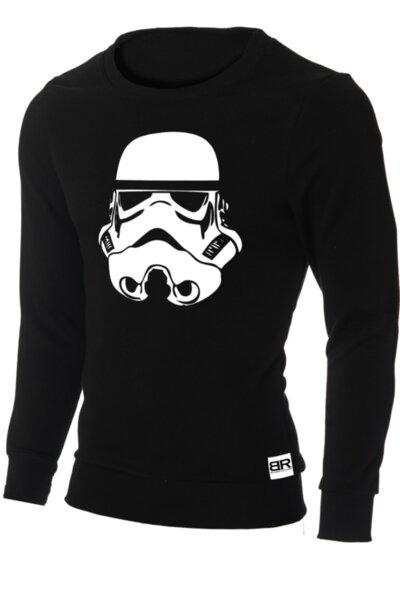 """Мъжка лимитирана вталена черна блуза с щампа """"Stormtrooper"""""""