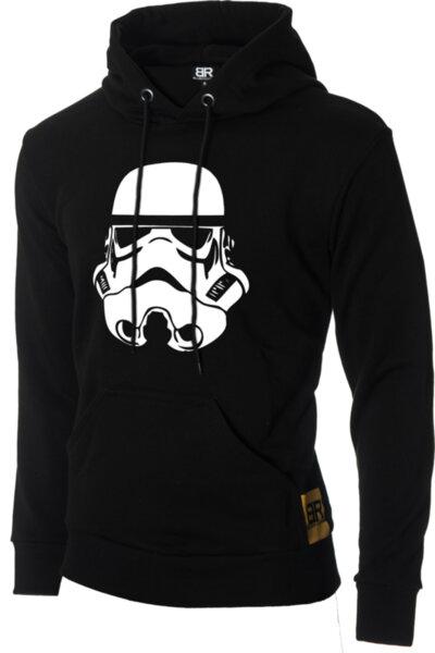 """Мъжки лимитиран ватиран черен суичър с щампа """"Stormtrooper"""""""