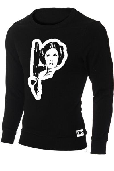 """Мъжка лимитирана вталена черна блуза с щампа """"Princess Leia""""-Copy"""