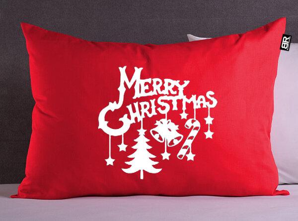 Коледна червена/черна калъфка с щампа Merry Christmas от Blazer Clothes