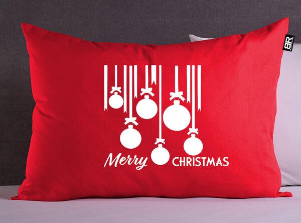 Коледна червена калъфка с щампа Christmas balls от Blazer Clothes