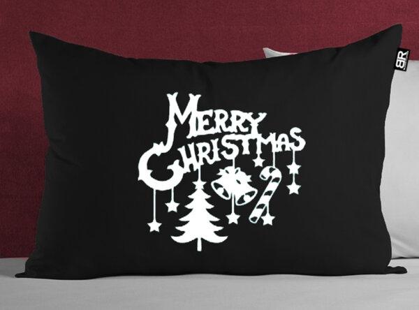 Коледна черна/червена калъфка с щампа Merry Christmas от Blazer Clothes-Copy