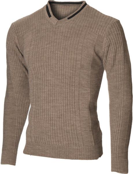 Мъжки бежов пуловер с V деколте