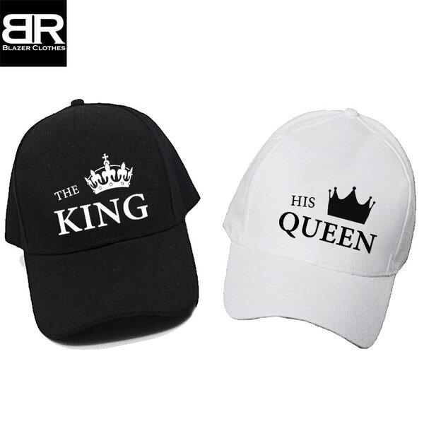 Комплект от 2бр. шапки за двойки с щампи King Queen