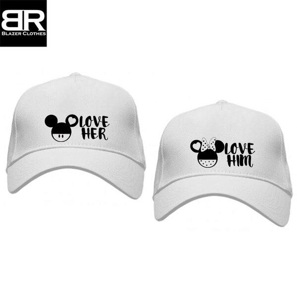 Комплект от 2бр. шапки за двойки с щампи Love her/him