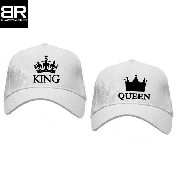 Комплект от 2бр. шапки за двойки с щампи King Queen-2