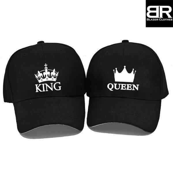 Комплект от 2бр. шапки за двойки с щампи King Queen-3