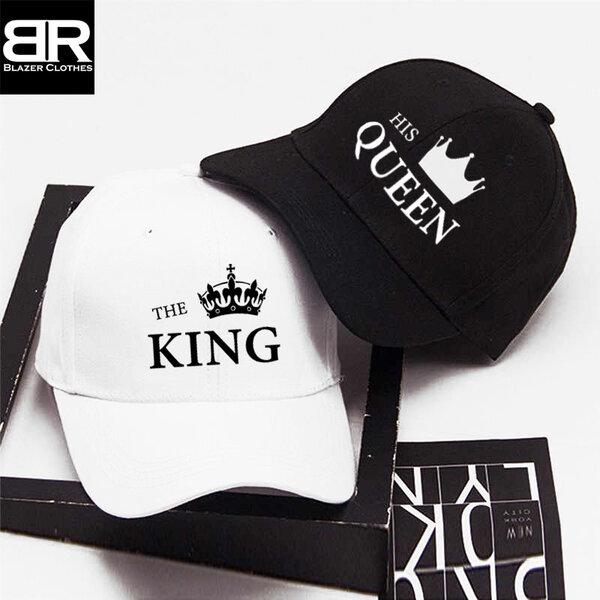 Комплект от 2бр. шапки за двойки с щампи King Queen-4