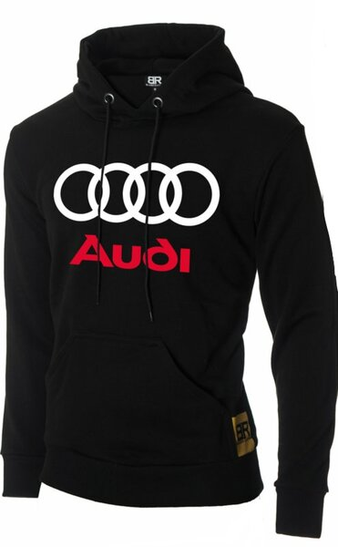 """Мъжки черен суичър с щампа """"Audi"""""""