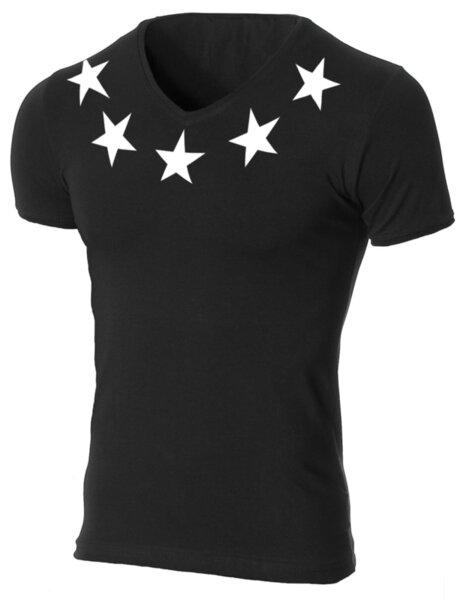 """Мъжка черна вталена тениска """"Crawly"""" с щампа Neck Stars"""