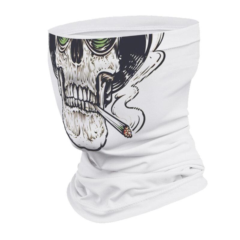 Маска за лице в бял цвят с щампа зелена уста от Blazer Clothes-Copy