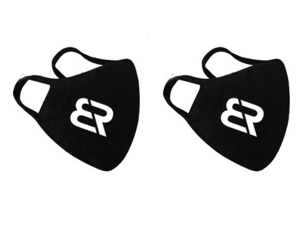 2бр. маски за лице двупластови в черен цвят за многократна употреба