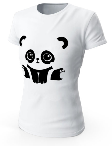 """Дамска бяла тениска с щампа """"Панда"""""""