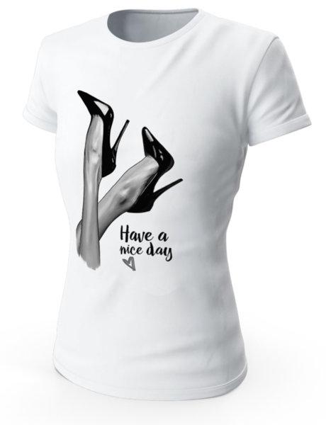 """Дамска бяла тениска с щампа """"Have a nice day"""""""