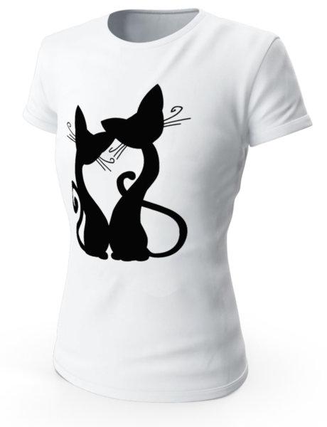 """Дамска бяла тениска с щампа """"Черни котки"""""""