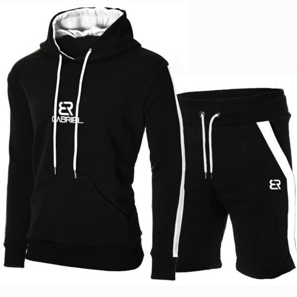 """Мъжки черен екип """"Gabriel"""" с бял кант и късо долнище от Blazer Clothes"""
