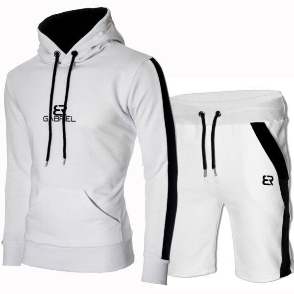 """Мъжки бял екип """"Gabriel"""" с черен кант и късо долнище от Blazer Clothes"""