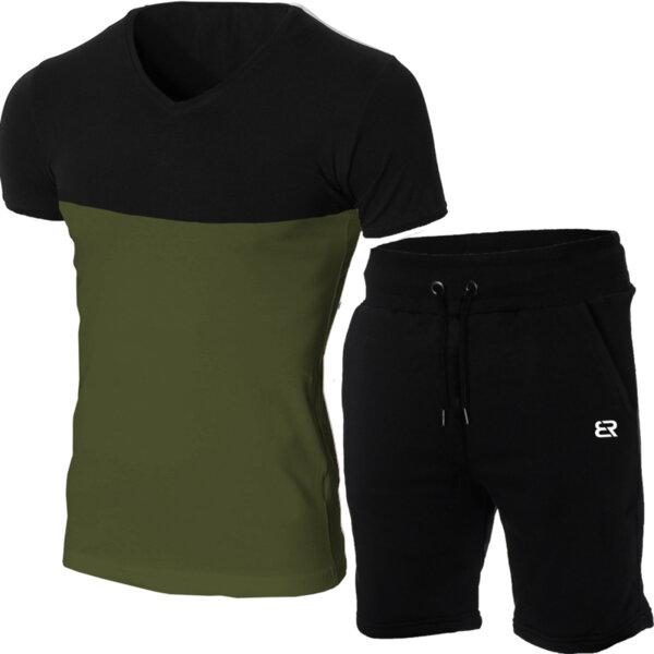 """Мъжки летен двуцветен екип """"Michael"""" черен/кхаки от Blazer Clothes"""
