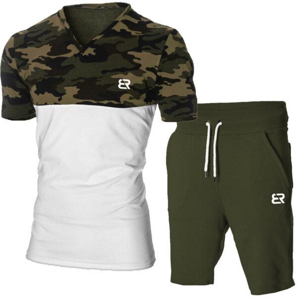 """Мъжки летен двуцветен екип """"Michael"""" камуфлаж/бял от Blazer Clothes"""