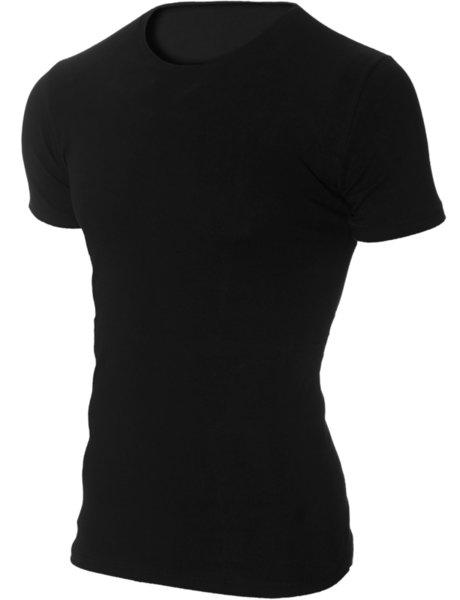 Мъжка черна изчистена вталена тениска с обло деколте