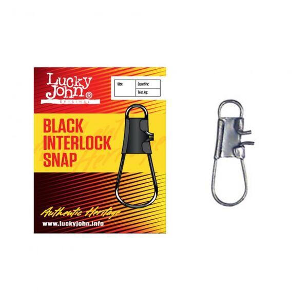 Карабинка Lucky John BLACK INTERLOCK SNAP