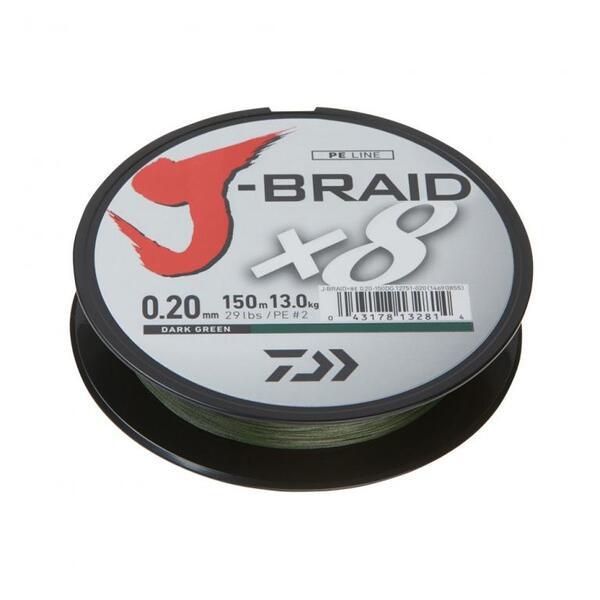 Плетено влакно Daiwa J-BRAID x8 Dark Green - 150м