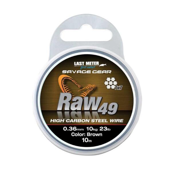 Метален повод Savage Gear RAW49 10м Кафяв