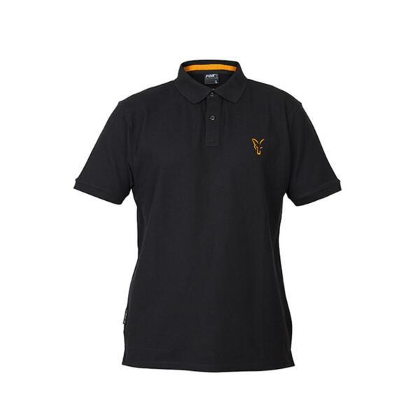 Тениска с яка Fox COLLECTION BLACK & ORANGE