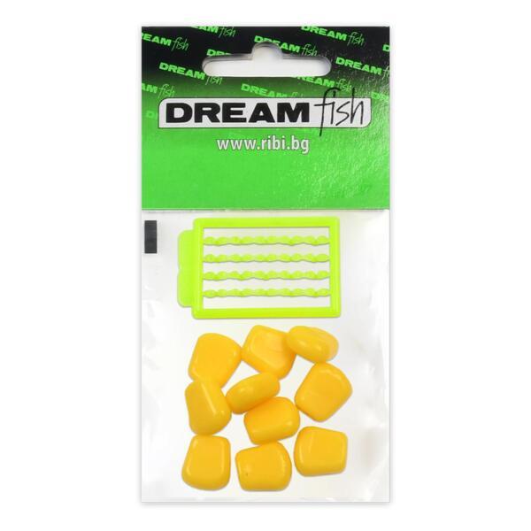 Силиконова царевица със стопери Dream Fish SUPER SOFT FLOATING - YELLOW