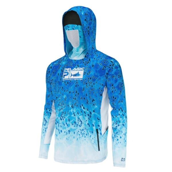 UV блуза с качулка и маска за лице PELAGIC UPF 50+ EXO-TECH HOODED FISHING SHIRT Blue Dorado