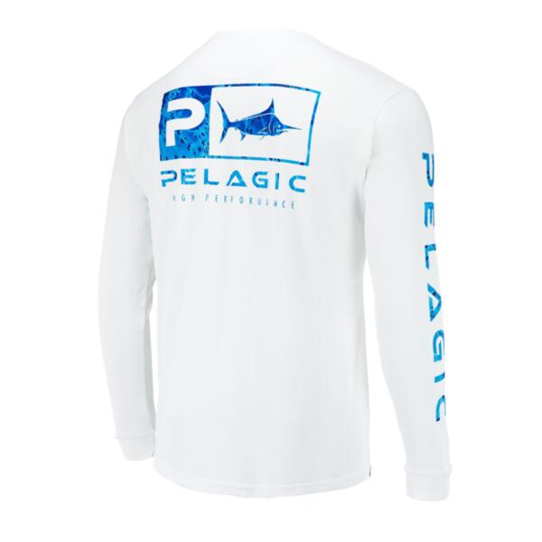 Тениска с дълъг ръкав UPF 50+ PELAGIC AQUATEK ICON LONG SLEEVE PERFORMANCE SHIRT White Blue